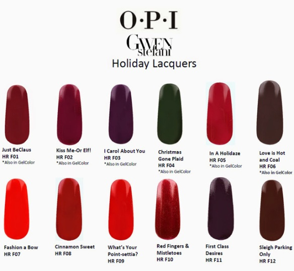 OPI Holiday 2014 Gwen Stefani Shades