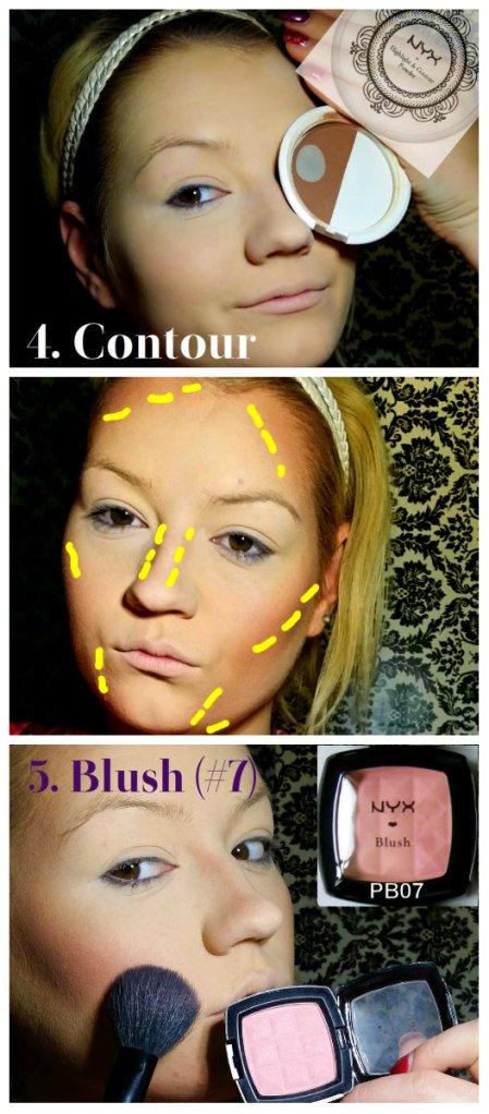 Cleopatra Makeup Tutorial Step 4 and 5 Contour Blush
