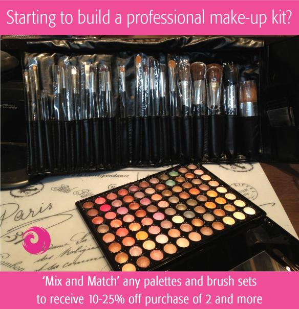 'Mix and Match' any palettes and brush sets to receive 10-25% off for purchase of 2 or more