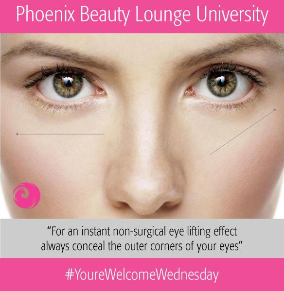 For an instant non-surgical eye lifting effect always conceal the outer corners of your eyes