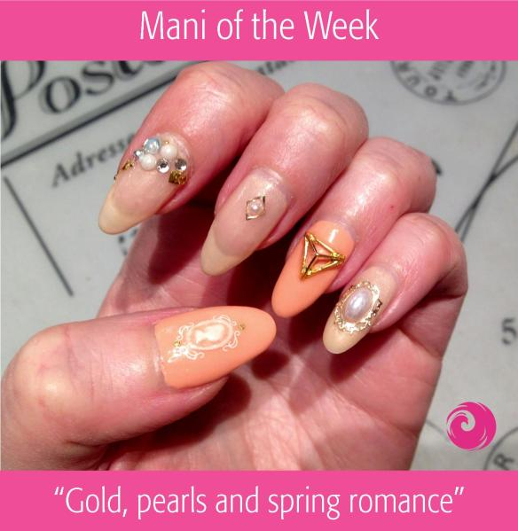 Mani of the Week: Gold Pearls and Spring Romance