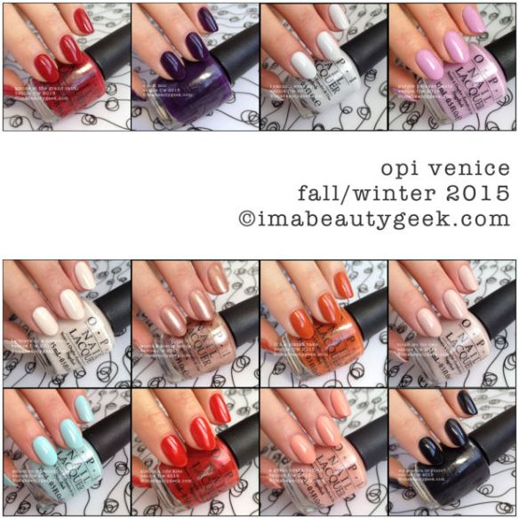 OPI Venice 2015 Collection swatches by imabeautygeek.com