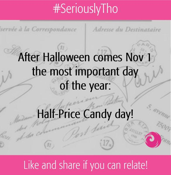 After Halloween comes Nov 1, the most important day of the year:  Half-Price Candy day!