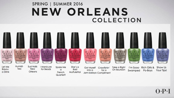 Opi 2016 New Orleans Collection Color Chart
